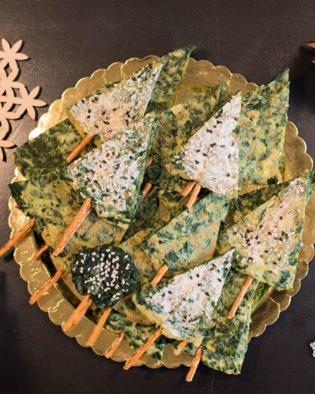 Recette d'omelettes aux épinards en forme de sapin