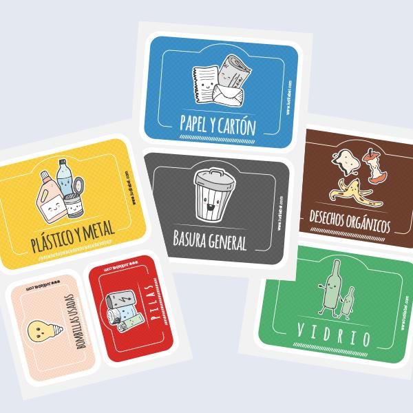 etiquetas para los contenedores de la basura de tu hogar.