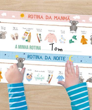 Rotinas da manhā e da noite das crianças para escola