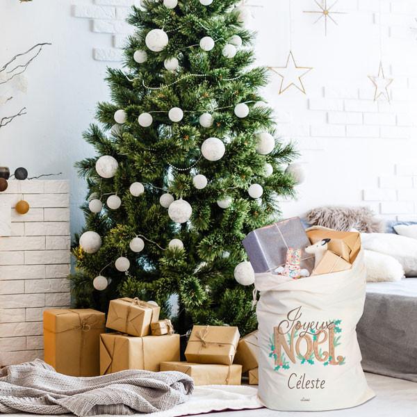 Hotte du Père Noël en tissu réutilisable et durable