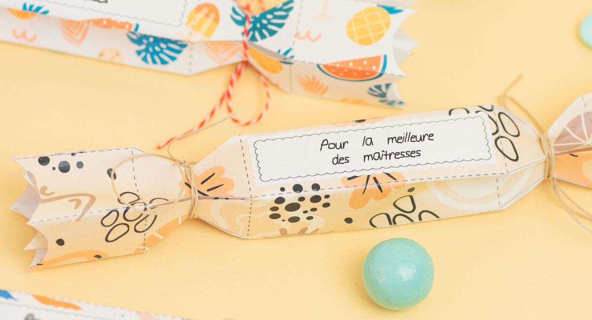 pochette cadeau cracker en papier à imprimer
